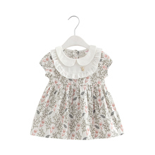 Summer Peter Pan Collar Vintage Style Baby Kids Cotton Floral Print Princess Party Girls Dress Newborn Infant Clothes 0-2T