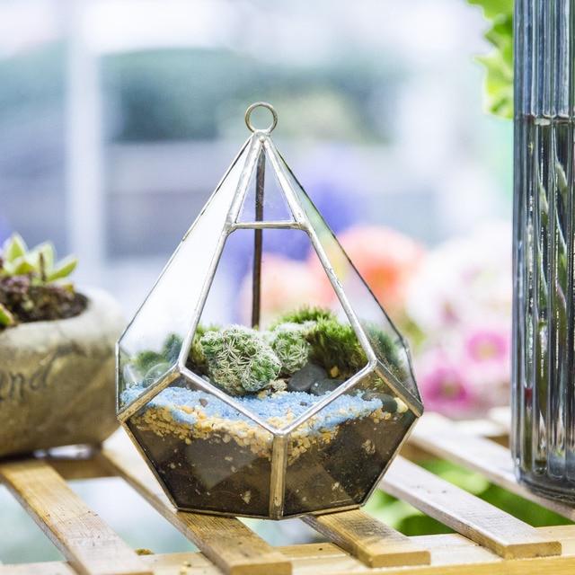 NCYP moderne verre Pot de fleur Terrarium conteneurs 3MM dépaisseur diamant artistique larmes forme verre Terrarium suspendus Pot de fleurs