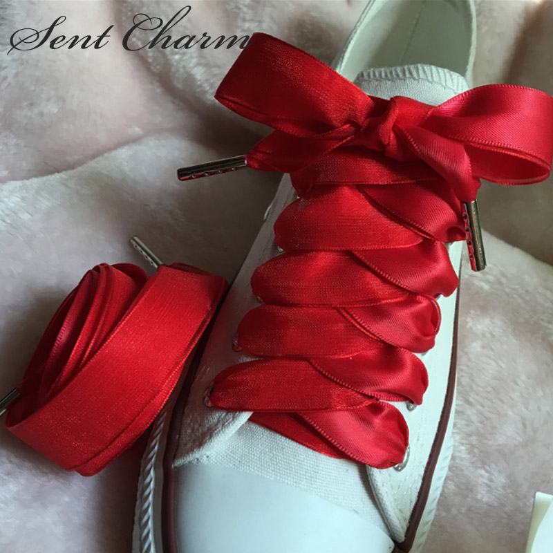 80/100/120/140CM Red Ribbon Shoelaces For Trendsetter Kids Adult Shoestring Leisure Shoe With Metal Aglets