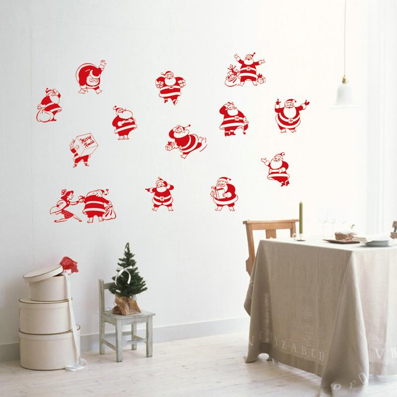 Christmas Decorations On The Wall : Santa claus sacks send gifts to kids children wall