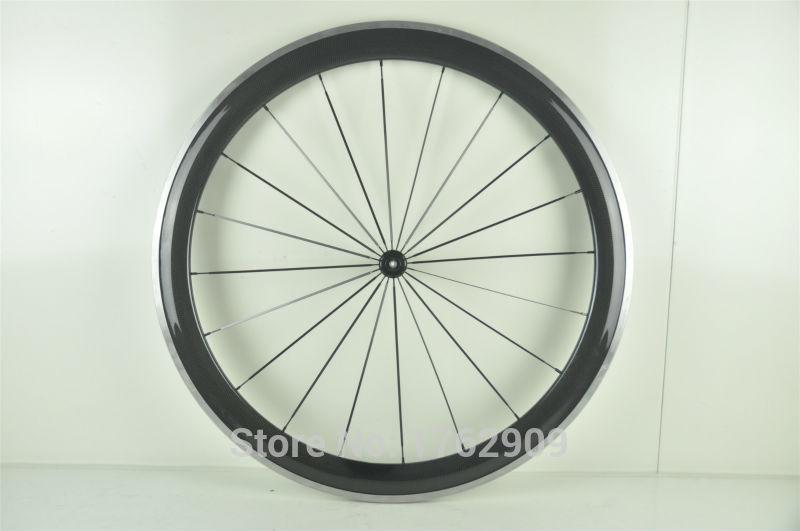 цена на 1pcs New 700C 50mm clincher rim road bike 3K carbon fibre bicycle wheelset with alloy brake surface aero spoke skewers Free ship