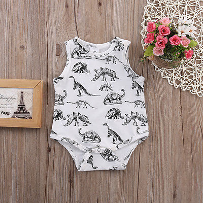 Summer Romper 2016 Wholesale Dropshipping Infant Baby Girl Boy Clothes Dinosaurs Printed Sleeveless Romper Cotton Outfits US AU