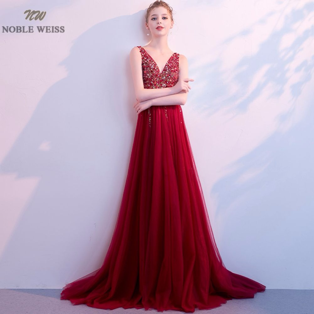 NOBLE WEISS A-Line Dark Red Tulle Bridesmaid   Dress   V-Neck Vestido De Festa Bare Back Beading Party   Prom     Dresses   With Court Train
