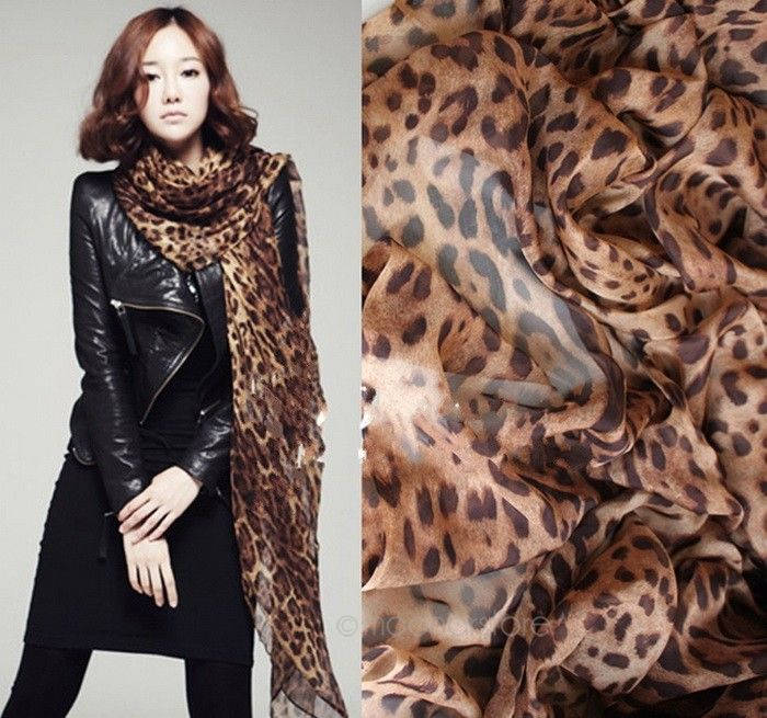 Leopard Lechiffon Scarf Shawl Fashion Women Long Chiffon Scarves Leopard Shawl All-match Soft Scarf 160x60CM Foulard Femme Scarf