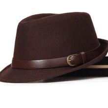 FS clásico Otoño Invierno para hombre sombrero de lana Jazz Fedora con  cinturón de las mujeres de ala ancha sombrero negro gris . 5d99745dc78