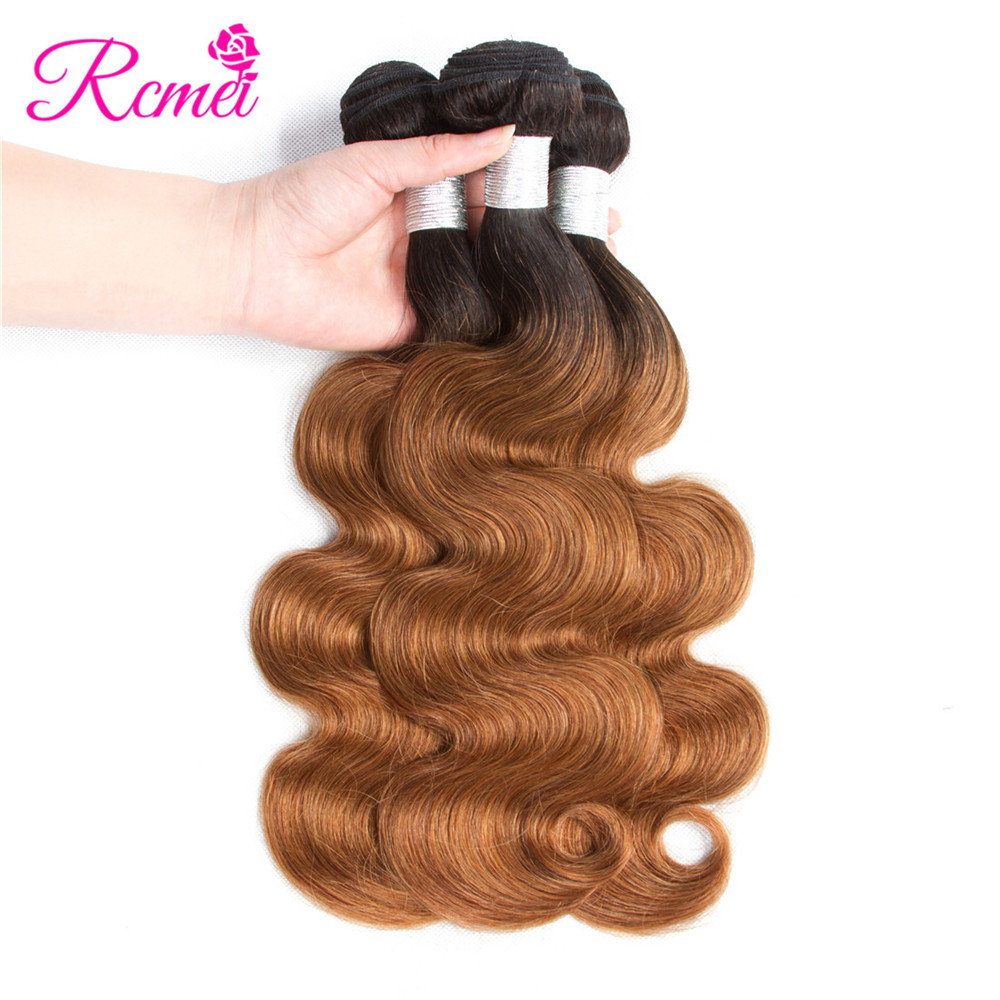 Ombre Honey Blonde Brown Wine Red Colored Bundles Two Tone Dark Roots Brazilian Body Wave Hair Weave 3 Bundle Deal Nonremy Rcmei
