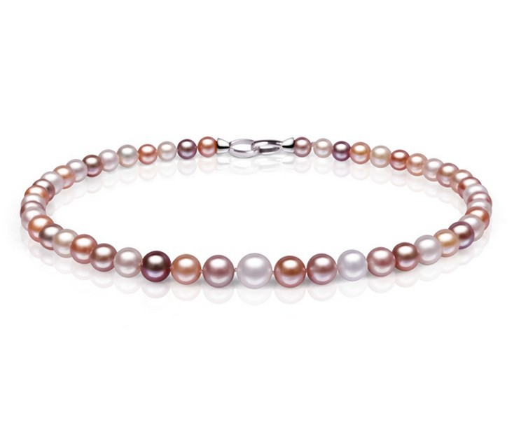Luxury Gift 100% Natural AAA Freshwater Pearl Necklace, Small to Big Size Purple~Pink Freshadama Necklaces for Women Jewelry