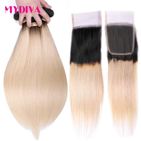 Ombre Blonde Bundles With Closure 1B/613 Black and Blonde Hair Bundles Dark Roots 10 26 Inch Non Remy Hair Weave Extensions