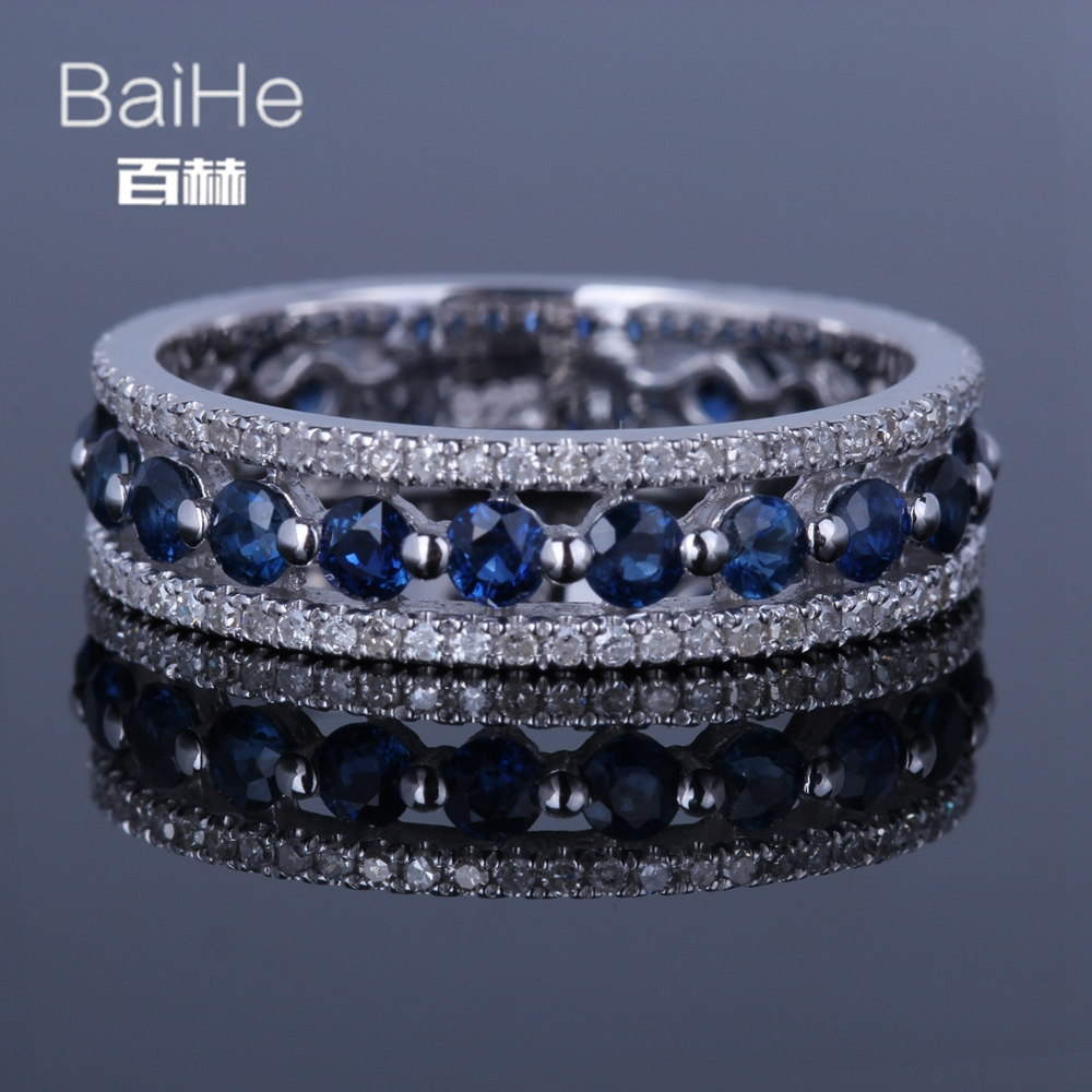 BAIHE Sterling Silver 925 1.7CT Certified H/SI Round Genuine Natural Diamonds & Sapphires Wedding Women Trendy Fine Jewelry RingBAIHE Sterling Silver 925 1.7CT Certified H/SI Round Genuine Natural Diamonds & Sapphires Wedding Women Trendy Fine Jewelry Ring