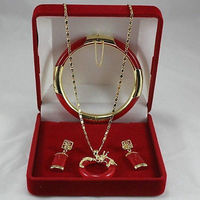 Wholesale price 16new ^^^^Jewelry Red stone Circle dragon Pendant Necklace Earring Bracelet set