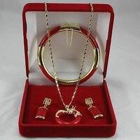 Groothandelsprijs 16new ^^^^ Sieraden Rode steen Cirkel dragon Hanger Ketting Oorbel Armband set