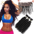Ear to Ear Lace Frontal Closure With Bundles Peruvian Virgin Hair Deep Curly With Closure Cheap Human Hair Weft With Closure