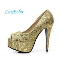 לבן עם עקבים גבוהים בוהן פתוח נעלי חתונה יהלומים מלאכותיים נוצצים אחת נעלי נשים המפלגה נעלי כלה מחיר נמוך