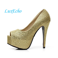 Sparkling Rhinestone Wedding Shoes Open Toe High Heeled Shoes White Crystal Single Shoes Women S Party