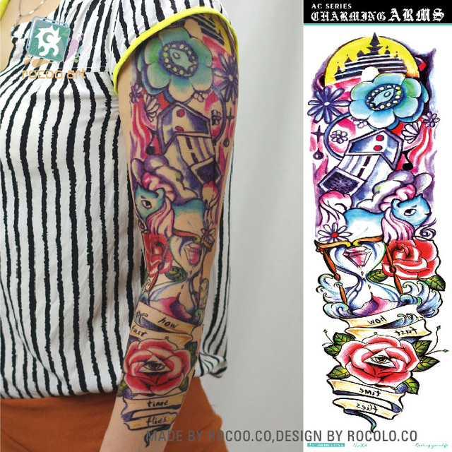 AC-004/Supper Big Full Arm Women Men Temporary Tattoos Body Art Tattoo Sleeve Stickers, Full Arm,Eyes Flower