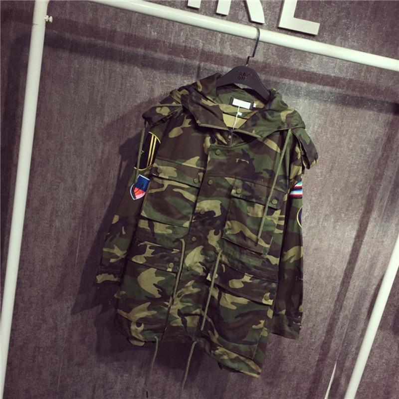 Longue Camouflage Veste Section Femelle La À Fusée Jaqueta Coréennes Manteaux Femmes Dans Paillettes 2017 Brodé Capuche Feminina Nouvelles qwY7ZWX