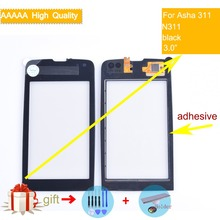 For Nokia Asha 311 N311 Touch Screen Touch Panel Sensor Digitizer Front Glass Outer Lens Touchscreen NO LCD Black nokia asha 205