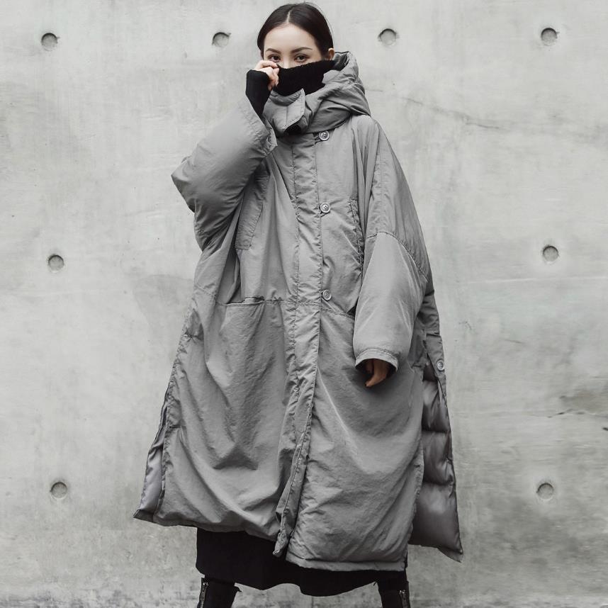 2020 New Winter fashion Long Cotton-Padded jackat Women Loose Plus Size Warm Hooded Parka split Coat Gray