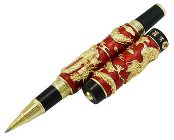 Jinhao Red Cloisonne Double Dragon Rollerball Pen with Smooth Ink Refill Advanced Craft Writing Gift Pen for Business, Graduate - Category 🛒 Office & School Supplies