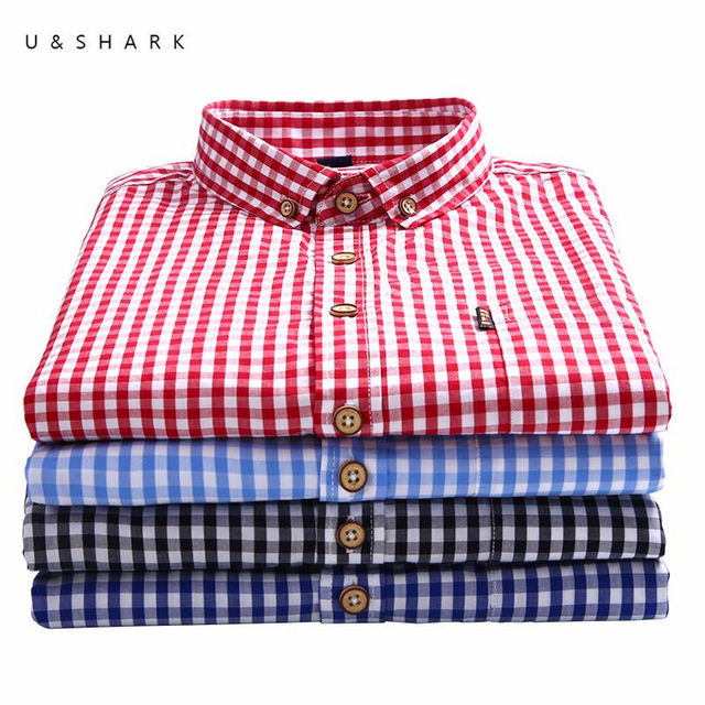 cb5d64dc32 U&SHARK 2017 Autumn Mens Plaid Casual Shirts Long Sleeve 100% Cotton Dress  Shirt Men Blouse