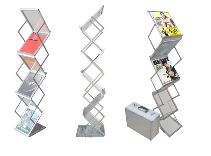 Aluminum Alloy Folding Brochures Pamphlets Books Literatures A4 Display Holders Rack Stand By 6 Faces To Show 10pcs clear acrylic a3a4a5a6 sign display paper card label advertising holders horizontal t stands by magnet sucked on desktop 2pcs
