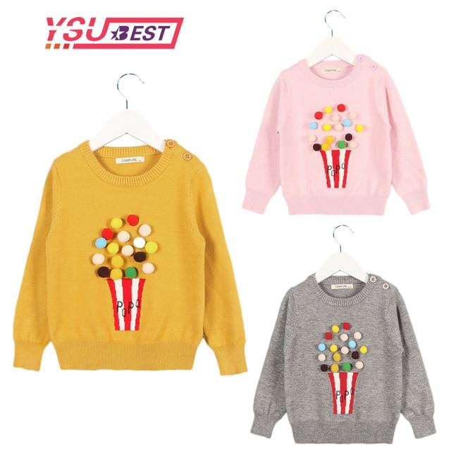 731eb88c7 2019 Autumn Baby Girls Sweater Kids Knitwear Popcorn Sweaters ...