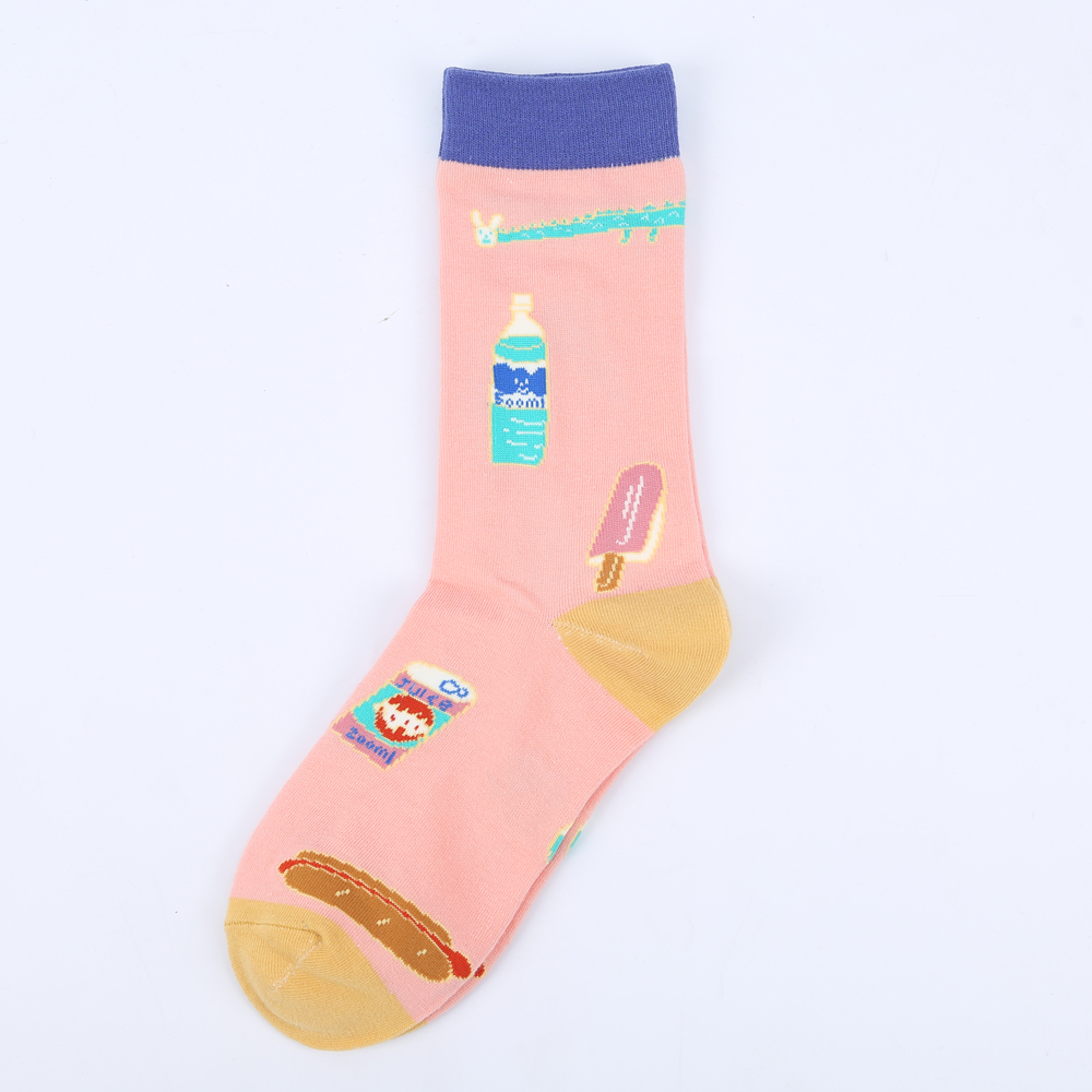 Modeager new brand Korea Kawaii Painting Cotton Long Funny Girls Ladies Women Socks pattern Ice cream Novelty Socks female