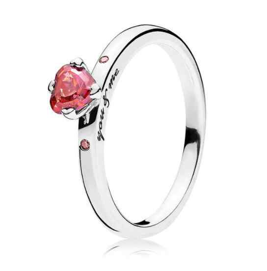 279082001 925 Sterling Silver Pandora Ring Red Heart Shaped Crystal You & Me Ring For  Women Gift