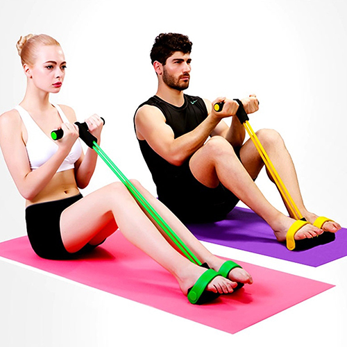Indoor Fitness Training Apparatus Elastic Latex Pedal Sit Up Pull Rope Abdominal Exerciser Home Sports Equipment Pull Rope