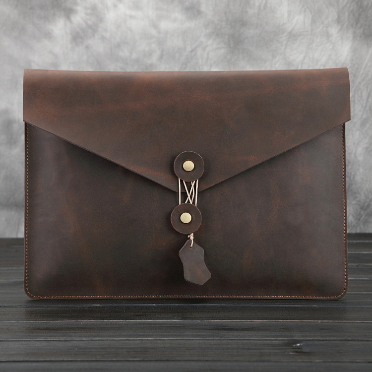 Nesitu Crazy Horse Genuine Leather for IPad Pro 12.9 inch A4 Ipad Bag Dark Brown Cowhide Men file package Envelope Bag #MD-L025 dark blue zippered faux leather handle conference file contract bag container