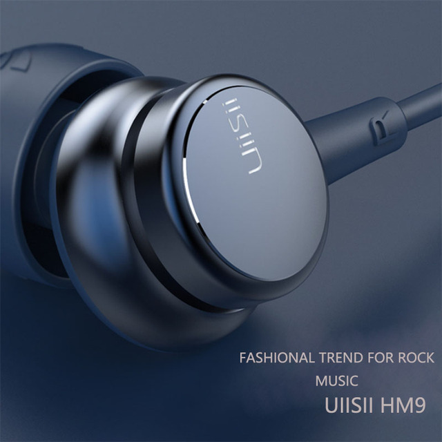 UiiSii HM9 Hot Selling Wired Noise Cancelling Dynamic Heavy Bass Music Metal In ear with Mic Earphone for iphone Xiaomi Samsung