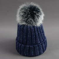 คอร่าวังจริงขนหมวกถักจริงบิ๊กฟ็อกซ์Pom Pomหมวกผู้หญิงฤดูหนาวหมวกUnisexหญิงสาวเด็กที่อบอุ่นก้อน...