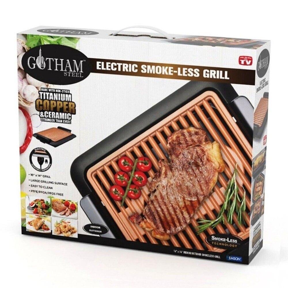 L'UE Électrothermique Rectangle barbecue plaque barbecue Sans Fumée Grill Avec Cadran de Température Rapide Chauffée Griller de Grille En Ti-ceram