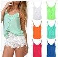 Six color 2014 summer vest candy color sexy chiffon blouse unlined upper garment of condole belt vest coat XXXL women blouses
