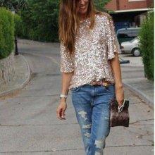 Women Summer Fashion Shiny Causal Sequin Top Tank Three Quarter Sleeve Blouse