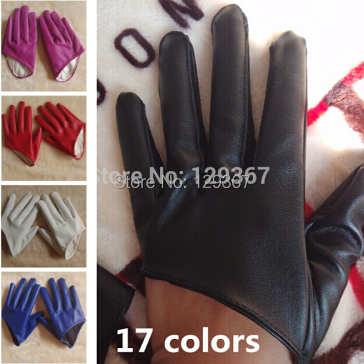 Free Shipping! 100% Real Shooting, Women's Short Design PU Leather Gloves Fashion Half Palm Motorcycle Gloves Gloves 17colors