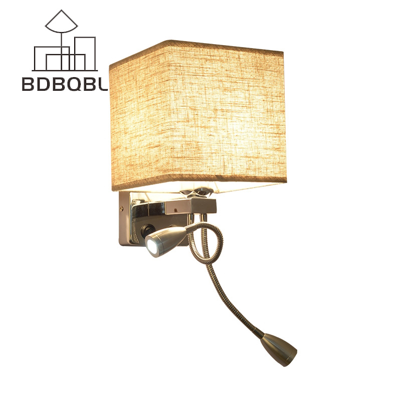 BDBQBL Modern Wall Lights LED Reading Lamp Wall Lamp Hostel Bed Night Lamp Tubing Rocker Light Fabric Sconce Bathroom Fixtures three dimensional 3d visual reading lights wood acrylic clear small lamp button type led stereo night light folding book lights