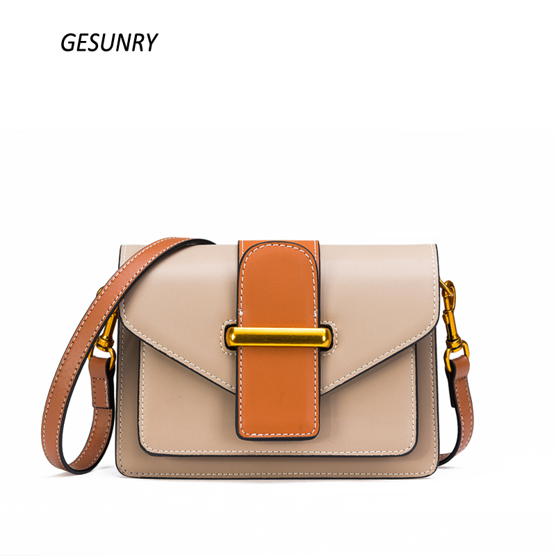 2018 Spring Women Genuine Leather Shoulder Bags Girls Crossbody Messenger Bag Lady Handbag and Purse Cow Leather Beige lacattura small bag women messenger bags split leather handbag lady tassels chain shoulder bag crossbody for girls summer colors