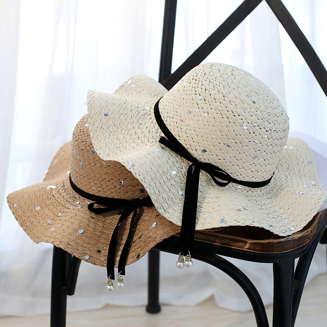 2018 Hot Big Brim Sun Hats for Woman foldable Colorful Bow Dot Hand Made Straw  Hat 07445418466a
