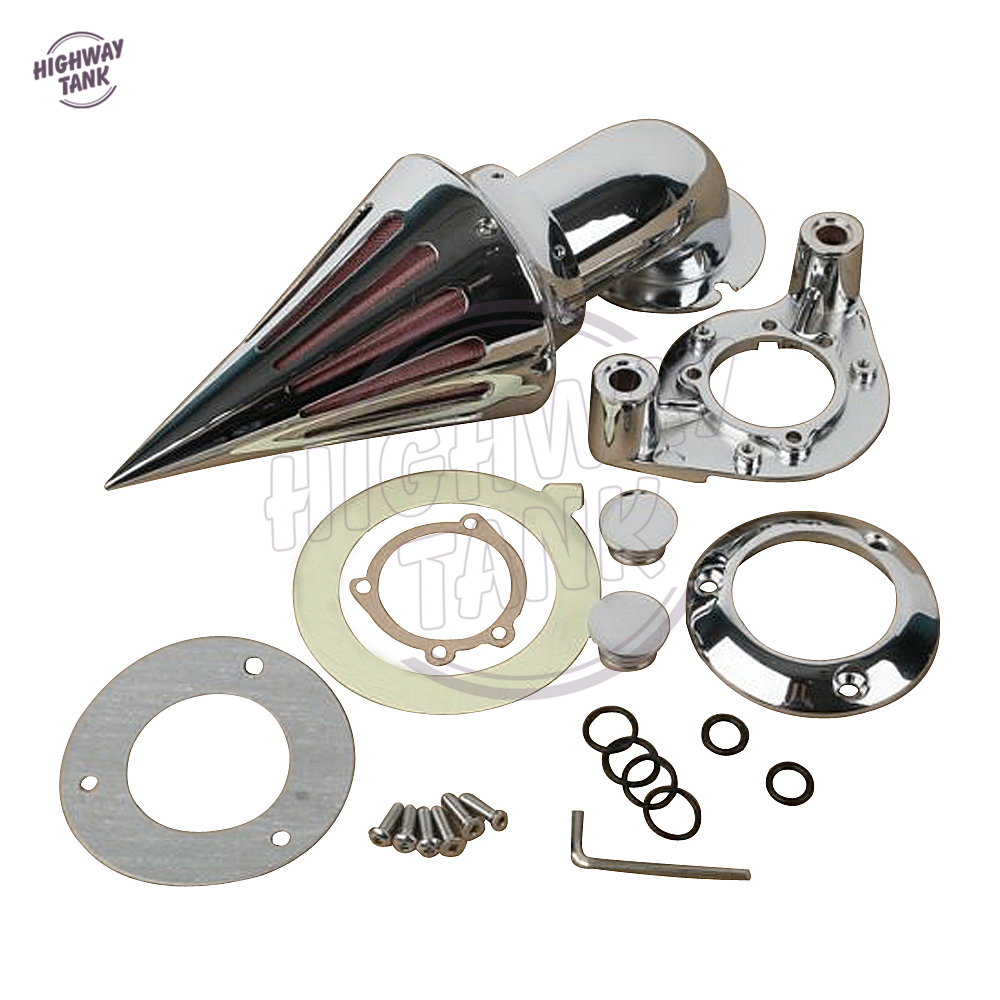 Chrome Aluminum Motorcycle Kit-Cone Spike Air Cleaner Intake Filter case for Harley Sportster Carburetors 1991-2006 купить