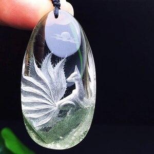 Image 3 - Groothandel Groene Natuurlijke Ghost Crystal Hangers Hand Gesneden Phoenix Trui Keten Ketting Geluk voor Vrouwen Mannen Crystal Sieraden