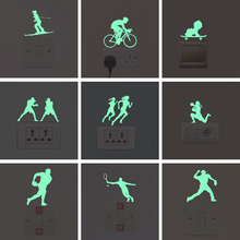 New 3D wall stickers for kids rooms sports green Luminous Sticker glow in the dark bedroom home decor living room