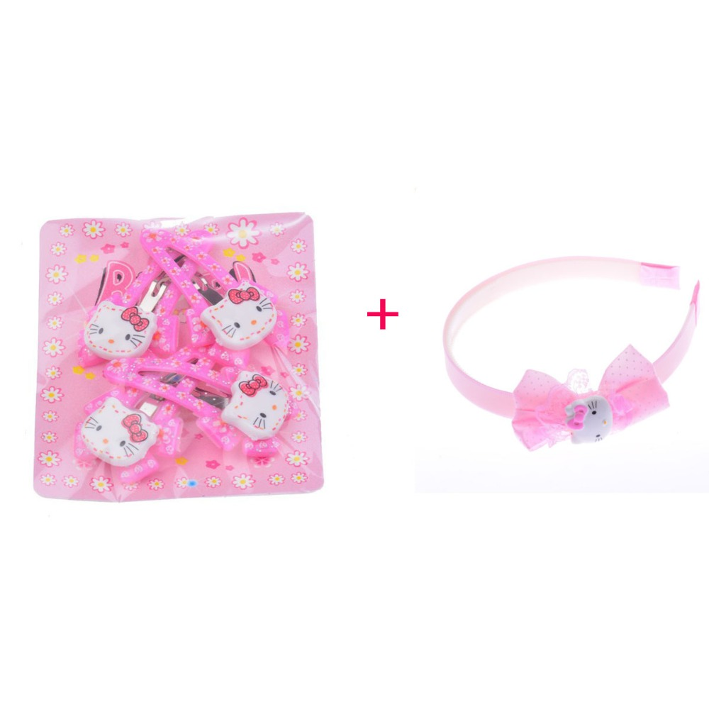 Six Colors Baby Girl Hair Clip 4 Pieces/Bag+1 Piece Hello Kitty Headband Combination Hair Accessories For Girls