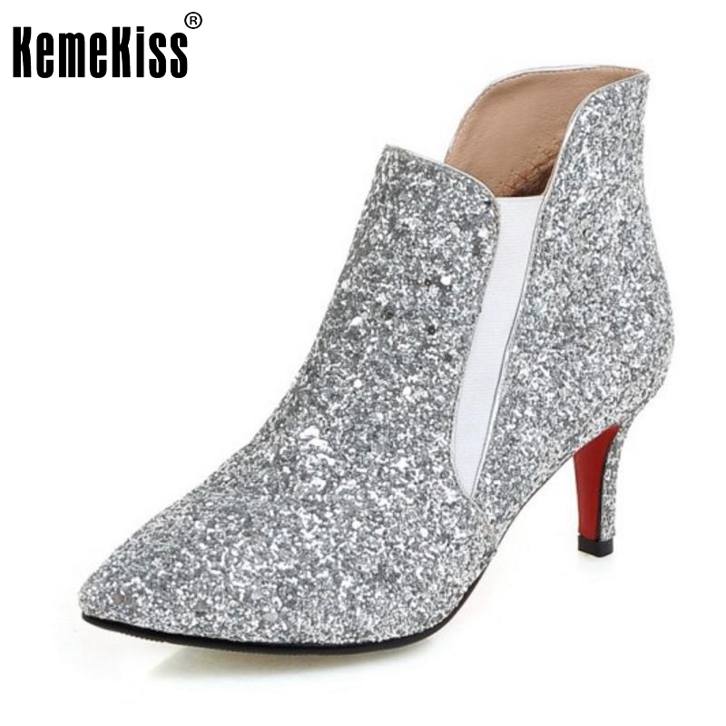 ФОТО Woman Fashion Thin Heel Ankle Boots Women Sexy Pointed Toe Low Heels Shoes Ladies Glitter Party Wedding Heeld Shoes Size 32-43