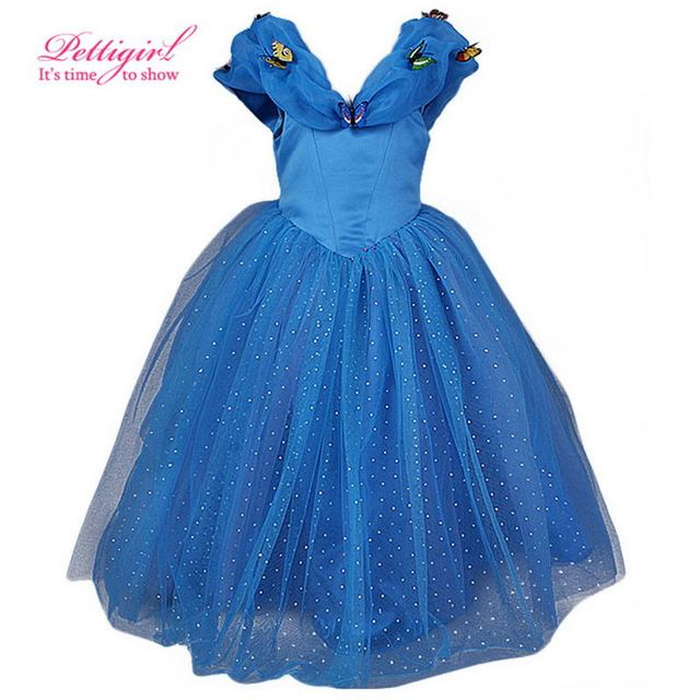 1b88230d6 Cutestyles 2019 New Cinderella Kids Dress Retail Blue Princess Girl ...