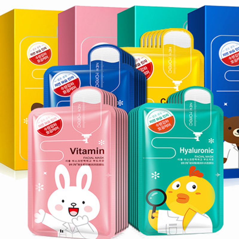 BIOAQUA Mask 10Pcs Cartoon Face Mask Deep Nourish Brighten Moisturizing Facial Mask Hyaluronic Acid Beauty Skin Care Sheet Mask