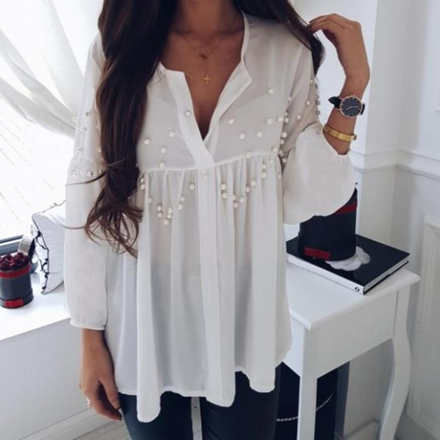 Women's white blouse shirt Pearl beading new 2018 Spring Summer blusas camis femme off lady fashion shirts WS6098y