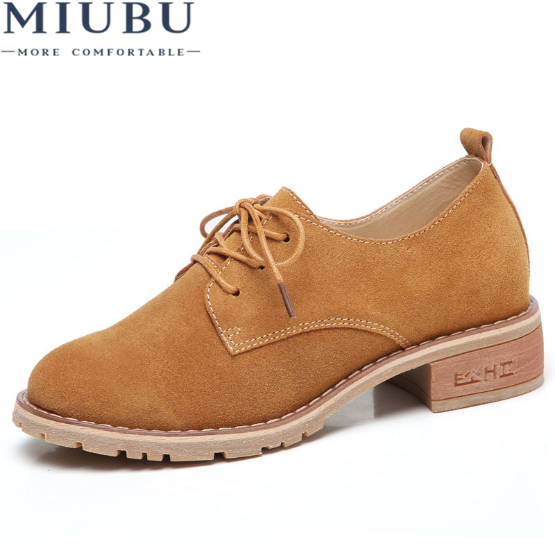 MIUBU Autumn Women Classic Oxford Shoes Flats Shoes Women   Leather     Suede   Lace Up Boat Shoes Flats Moccasins Lady Casual Shoes