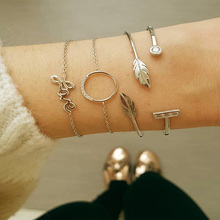 Boho Vintage Letter Chain Bracelet  for Women Circular Crystal Love Leaf Cuff Charms Bracelets 2019 Fashion Jewelry Gift