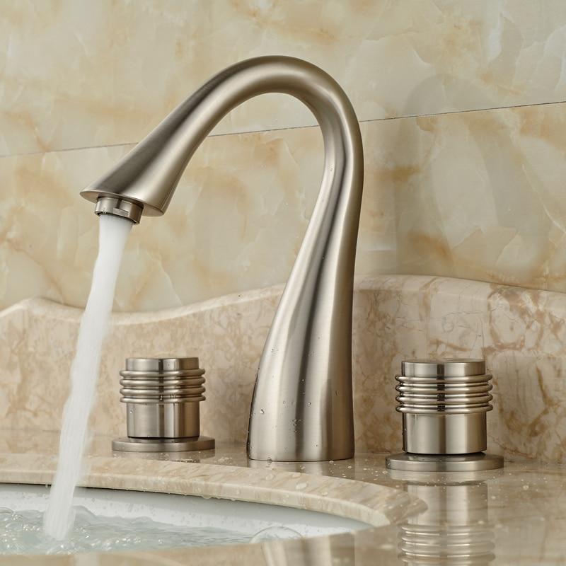 Nickel Brushed 3 Holes Widespread Basin Sink Faucet Dual Handle Bathroom Washing Mixer Taps